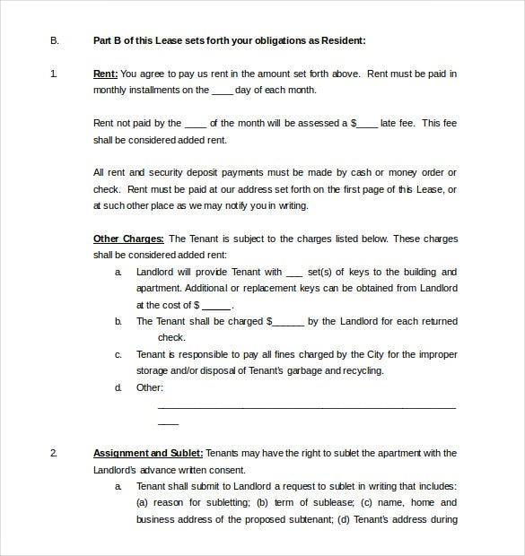 Residential Lease Agreement Word Format
