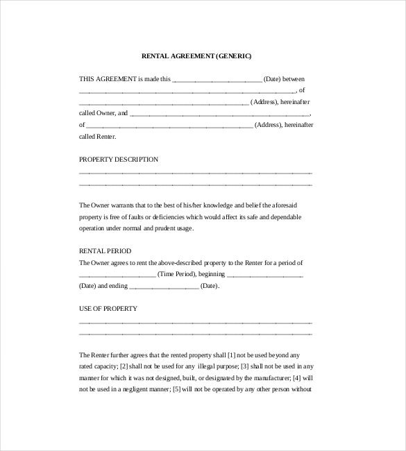 generic rental agreement Rental Agreement Template – 25  Free Word, Excel, PDF Documents ...