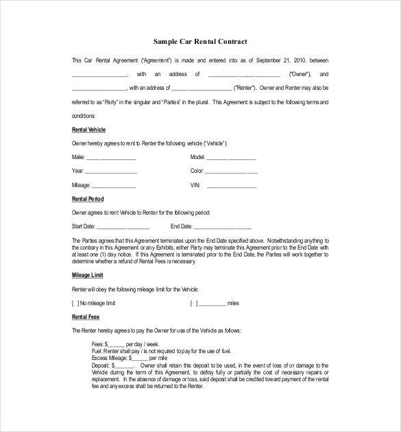 sample car rental aggreement pdf format