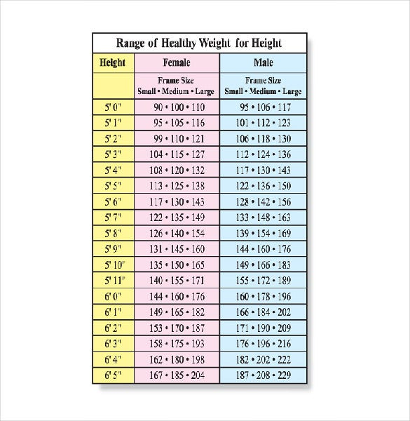height and weight chart for men doc printable