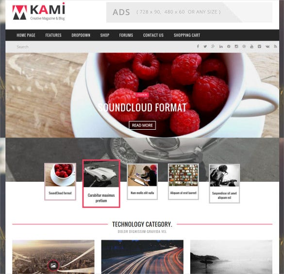 kami creative magazine and blog theme