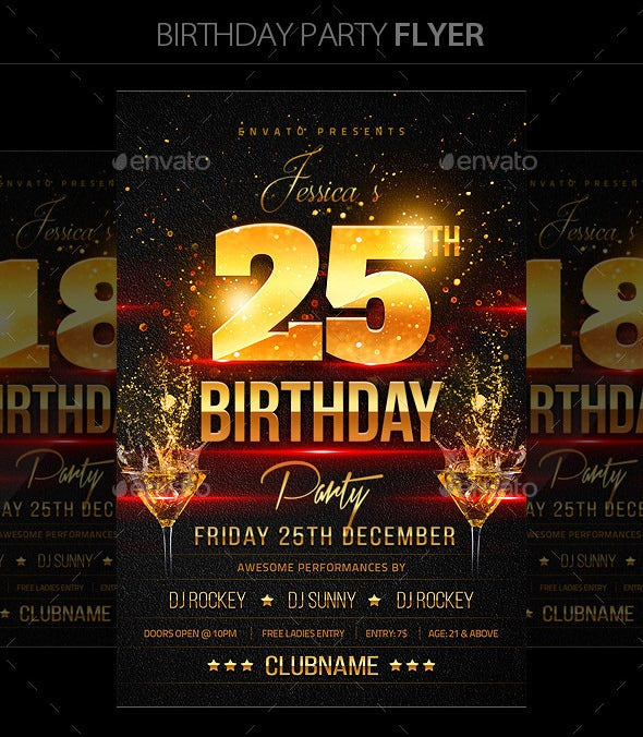 dark birthday part flyer template
