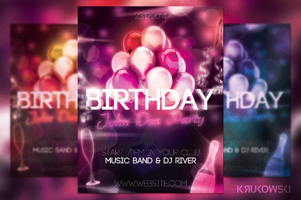 elegant birthday flyer template download