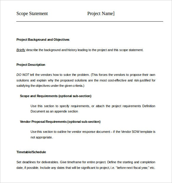 organisation project scope statement template word download