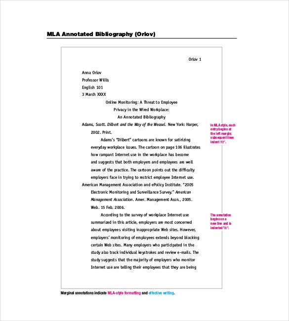 annotated bibliography cover page apa style