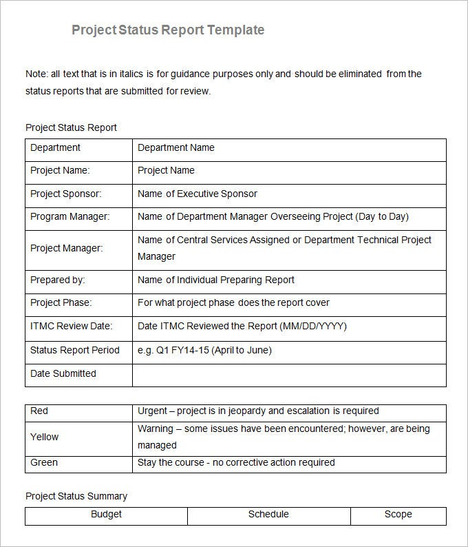 department project status report template free download
