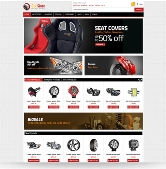 accessories car magento responsive theme