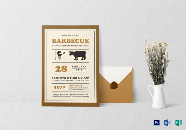 bachelorette bbq party invitation card template