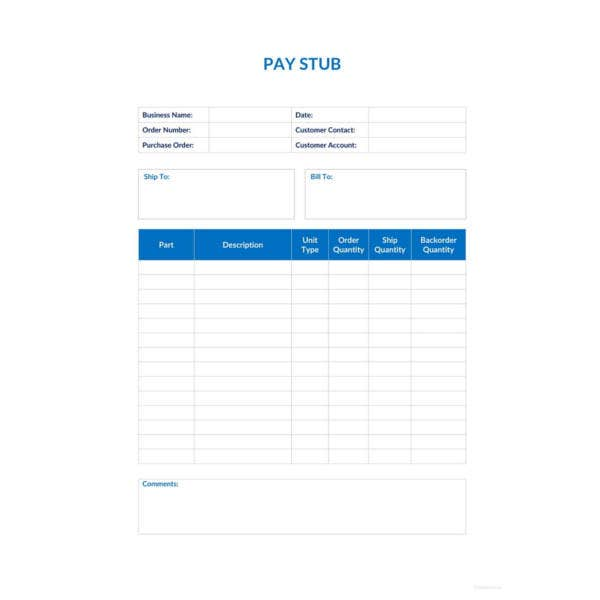 basic pay stub template
