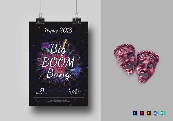 big boom bang new year party flyer indesign template