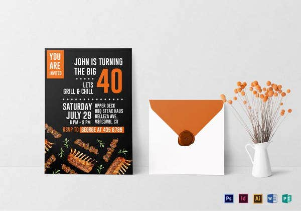 birthday steak and bbq invitation template