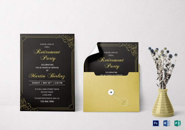 black-gold-retirement-invitation-template