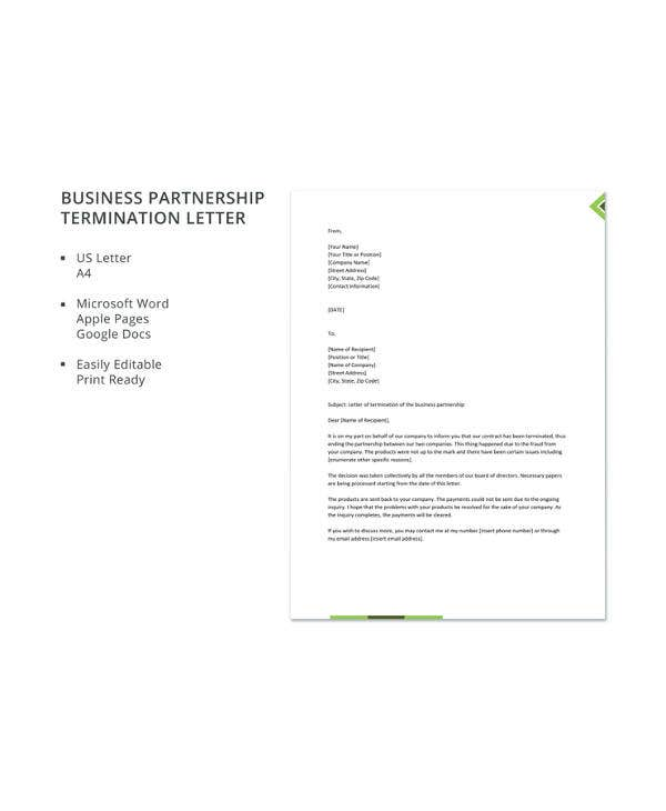business partnership termination letter