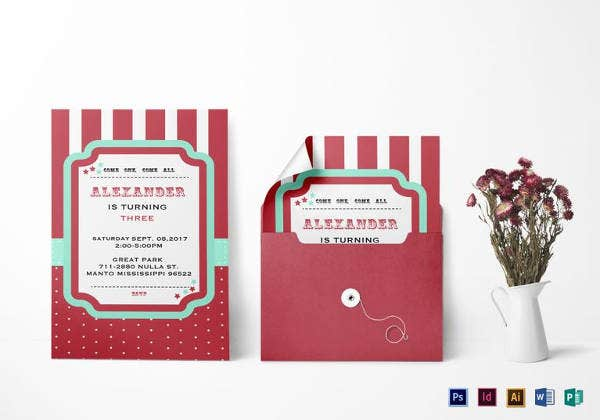 carnival birthday invitation template in psd