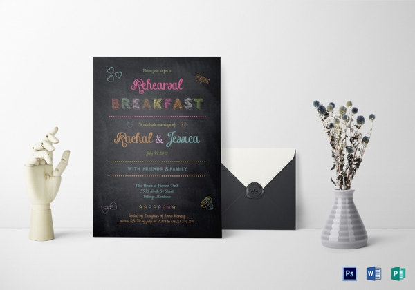 chalk board wedding breakfast invitation template