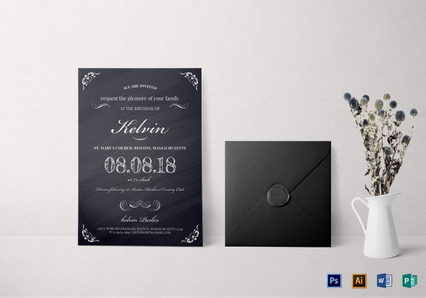 chalkboard birthday party invitation templat