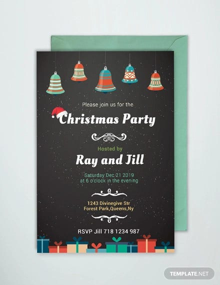 Chalkboard Christmas Invitation Card Template in PSD