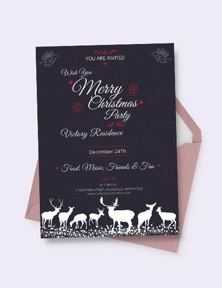 Chalkboard Christmas Invitation Template