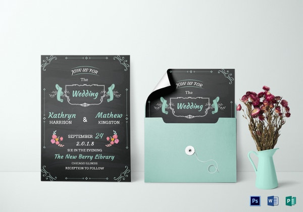 chalkboard wedding invitation card template