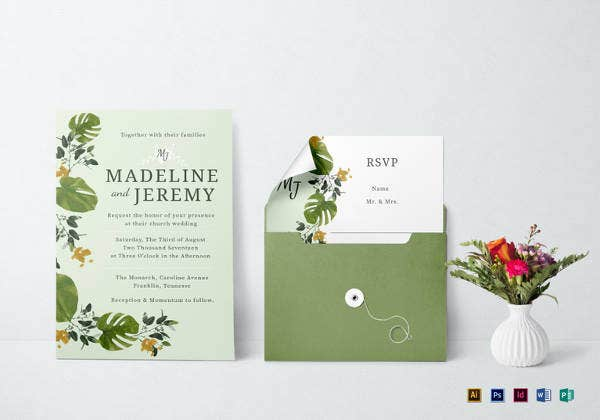 church wedding invitation in landscape and portrait