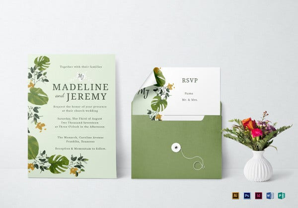 church wedding invitation in landscape
