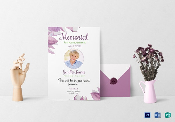 Classic Funeral Invitation Card in Word