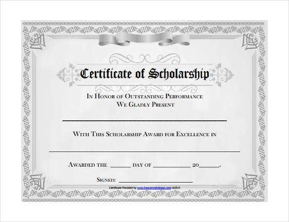 college scholarship award certificate word format download
