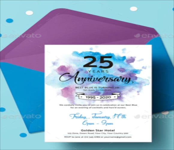 colorful anniversary invitation