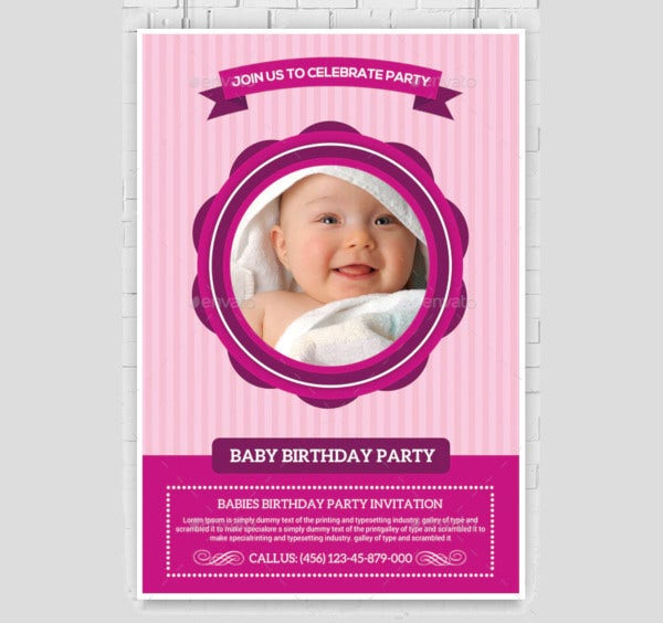 colourfull baby birthday party invitation1