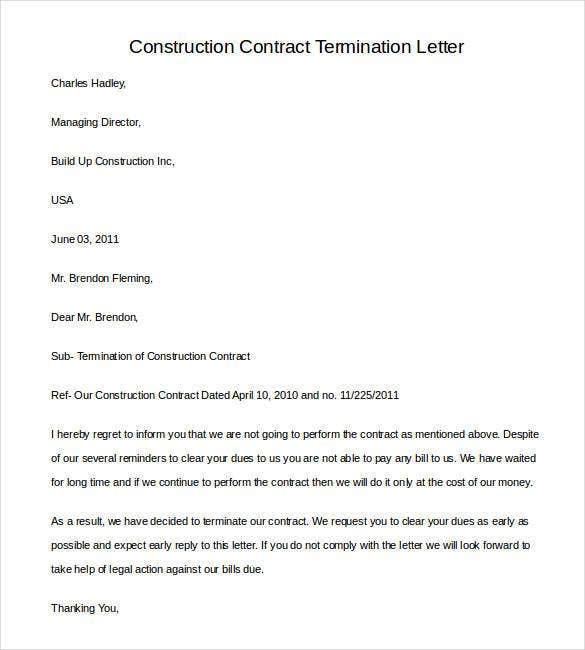 Construction Contract Termination Letter Agreement