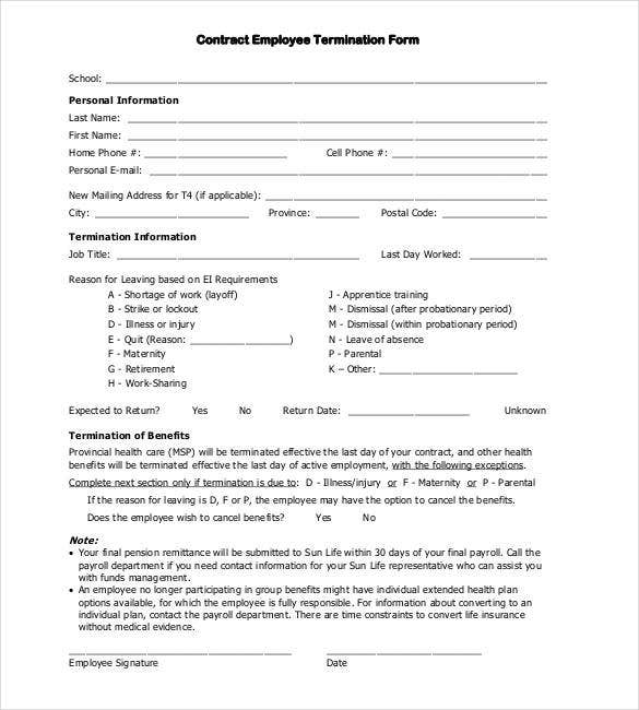 Terminate Contract Template