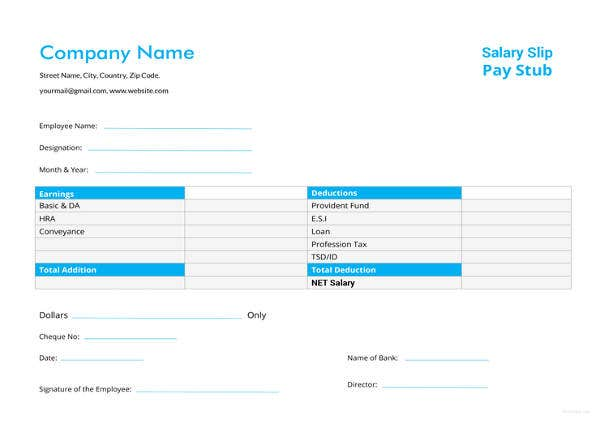 24+ Pay Stub Templates - Samples, Examples & Formats