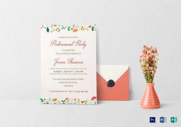 Free Retirement Party Invitation Templates For Word Ms Word Item