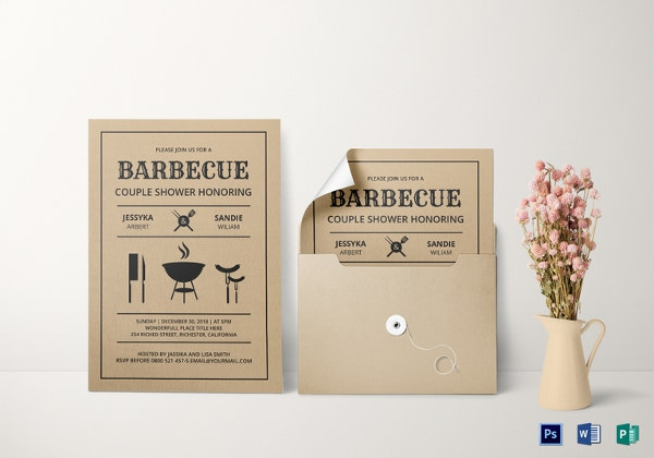 couple shower bbq invitation template1
