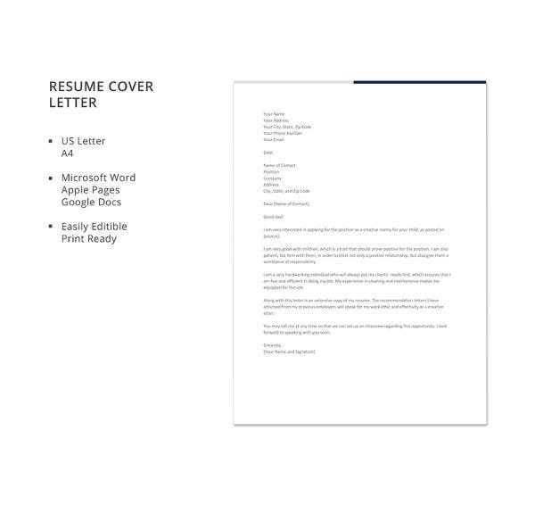 creative nanny resume cover letter template1