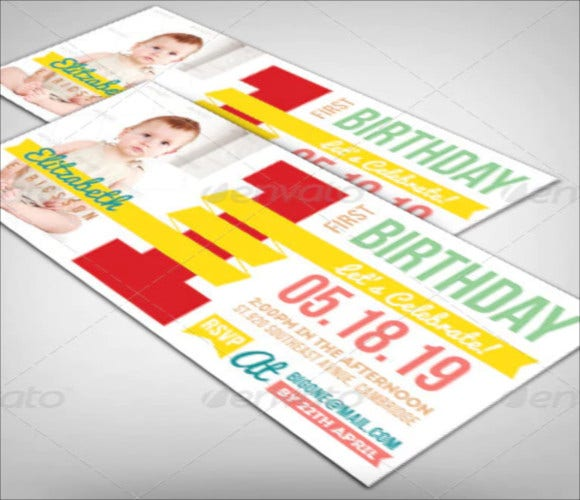 cute first birthday invitation template
