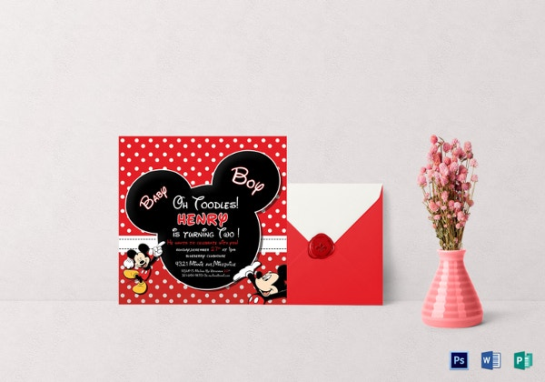 cute mickey mouse birthday invitation template
