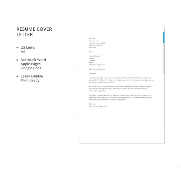 dental assistant resume cover letter template