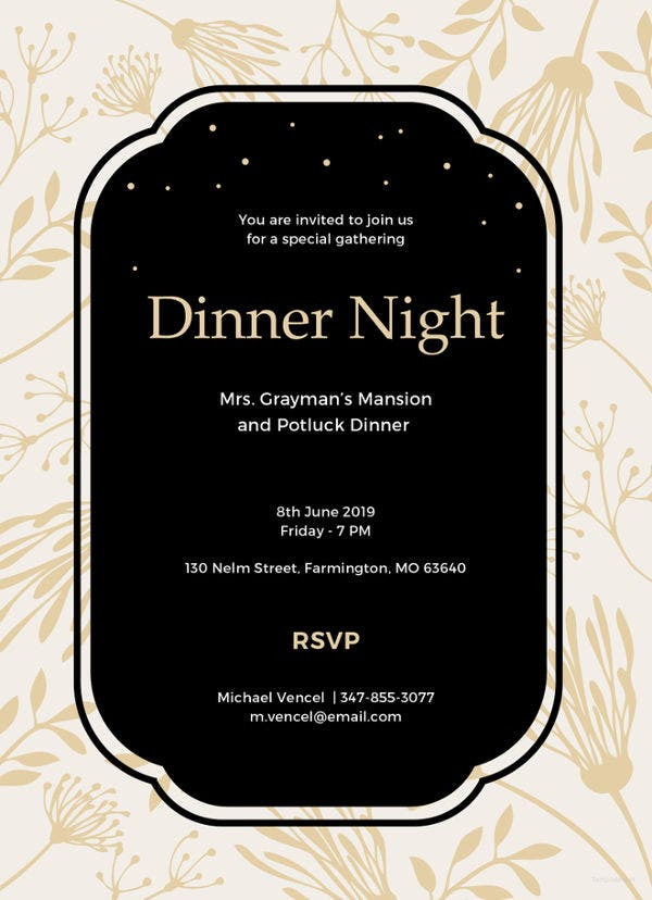 Dinner Invitation Template 40 Dinner Invitation Templates  Free Sample Example Format .