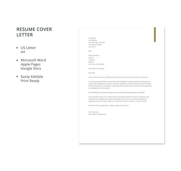 draftsman-resume-cover-letter-template