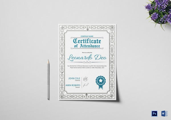 easy to edit certificate of regular attendance