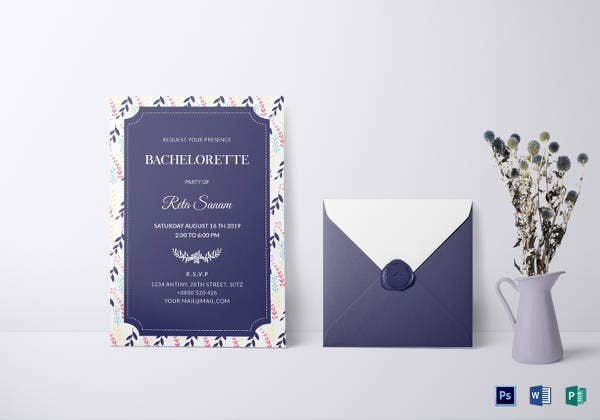 elegant bachelorette party invitation template