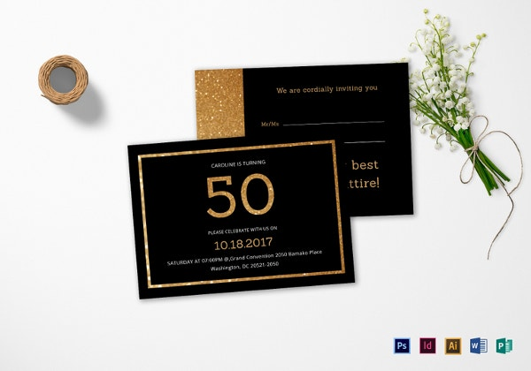 Elegant Black And Gold 50th Birthday Invitation Template