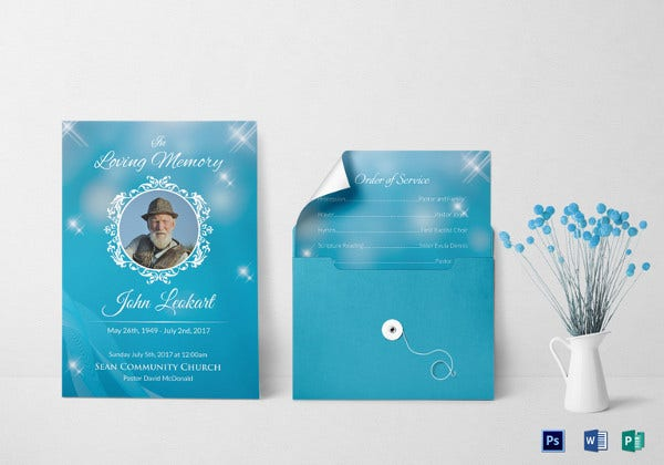 elegant funeral obituary invitation template