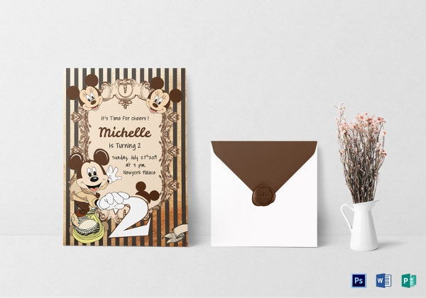 elegant mickey mouse birthday invitation card template