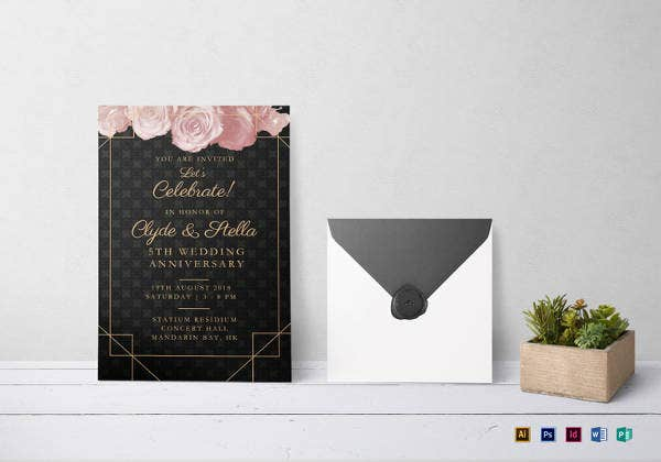 elegant wedding anniversary invitation in psd