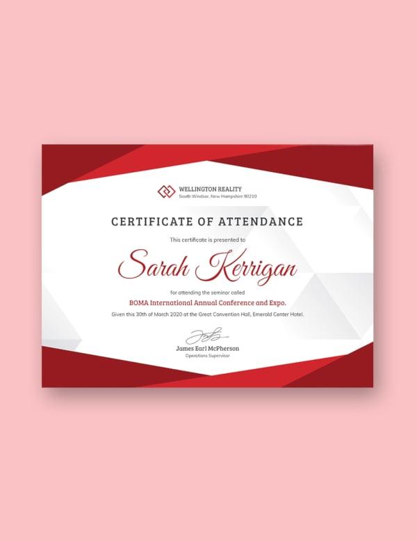 employee attendance certificate template