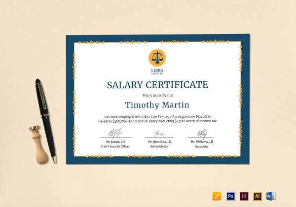 employee salary certificate template in psd
