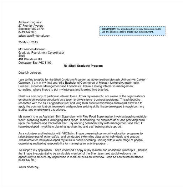 Example Of Recent Graduate Student Cover Letter  Cover Letter To Company