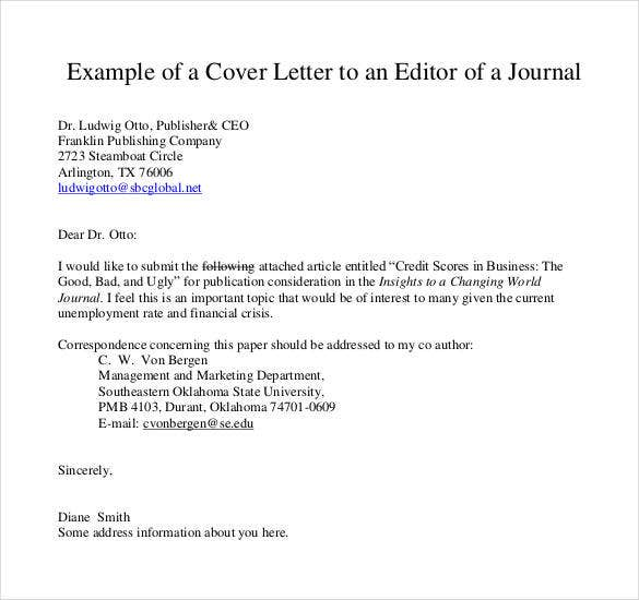 example of a cover letter to an editor of a journal